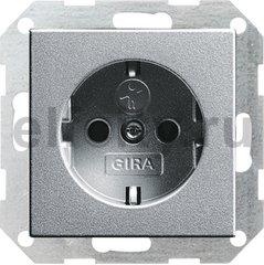Розетка с заземляющими контактами 16 А / 250 В, с защитой от детей и пиктограммой, пластик под алюминий