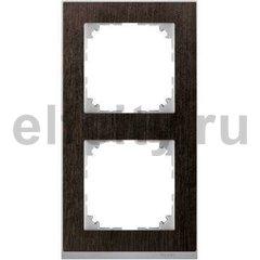 Рамка 2 поста, для горизонтального/ вертикального монтажа, венге/алюминий