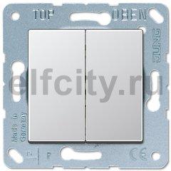 Выключатель двухклавишный, 10 А / 250 В, пластик под алюминий