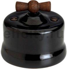 Выключатель поворотный одноклавишный универсальный (вкл/выкл с 1-го 2-х мест) 10 А / 250 В, наружный монтаж, фарфор черный, ручка старое дерево