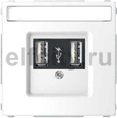 Зарядное USB устройство , 2,1А (2*1,05), белый лотос