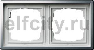 Рамка 2 поста, для горизонтального/вертикального монтажа, пластик под платину