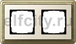 Рамка 2 поста, для горизонтального/вертикального монтажа, бронза/кремовый