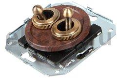 Выключатель тумблерныйный 4-х позиционный для внутреннего монтажа проходной (двухклавишный), вишня