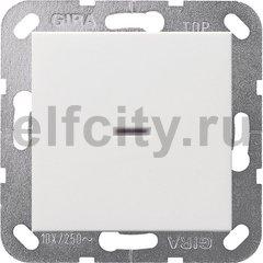 Выключатель одноклавишный с подсветкой, универс. (вкл/выкл с 2-х мест) 10 А / 250 В, пластик белый матовый