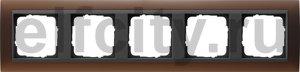 Рамка 5 постов, для горизонтального/вертикального монтажа, пластик матово-коричневый/антрацит
