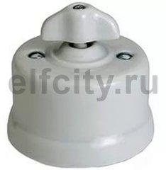 Выключатель поворотный одноклавишный перекресный (вкл/выкл с 3-х мест) 10 А / 250 В, наружный монтаж, белый фарфор, ручка ретро