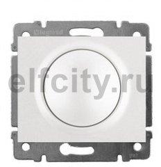 Диммер (светорегулятор) поворотный 400 Вт для ламп накаливания и галогенных 220В, пластик белый глянцевый