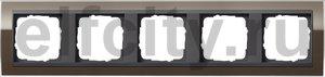Рамка 5 постов, для горизонтального/вертикального монтажа, пластик прозрачный коричневый-антрацит