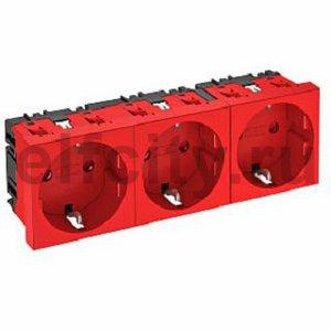 Розетка тройная 0° с з/к, 250 В, 16A (красный)