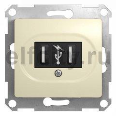 Розетка двойная USB, 2 * 5 B / 700 mA, используется для зарядки мобильных устройств, бежевый