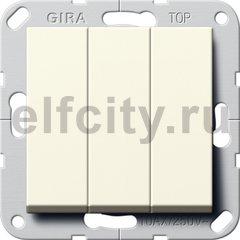 Клавишный выключатель. Переключатель 3-клавишный, пластик кремовый глянцевый
