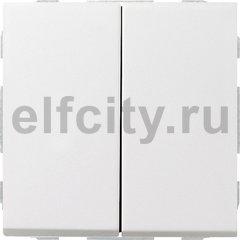 Выключатель двухклавишный, 10 А / 250 В, пластик белый глянцевый