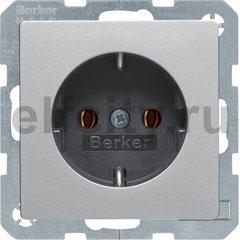 Розетка с заземляющими контактами 16 А / 250 В, автоматические зажимы, алюминиевый, с эффектом бархата