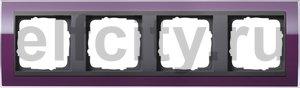 Рамка 4 поста, для горизонтального/вертикального монтажа, пластик прозрачный темно-фиолетовый-антрацит