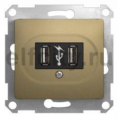 Розетка двойная USB, 2 * 5 B / 700 mA, используется для зарядки мобильных устройств, титан