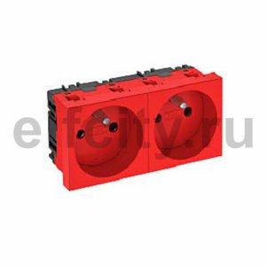 Розетка двойная 0° франц. стандарт 250 В, 16A (красный)