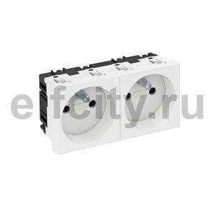 Розетка двойная 0° франц. стандарт 250 В, 16A (белый)