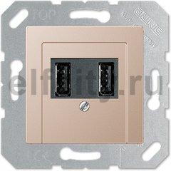 Зарядное USB устройство на два выхода , 2х750 мА / 1х1500 мА, шампань