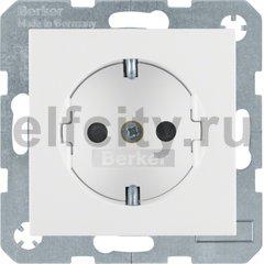 Розетка с заземляющими контактами 16 А / 250 В, с защитой от детей, автоматические зажимы, пластик белый матовый