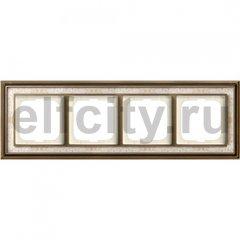 Рамка 4 поста, для горизонтального/вертикального монтажа, латунь античная/белая роспись