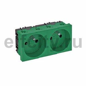 Розетка двойная 0° франц. стандарт 250 В, 16A (зеленый)