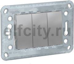 Выключатель трёхклавишный, 10 А / 250 В, алюминий
