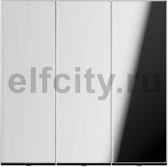 Выключатель, переключатель 3-х клавишний, (вкл/выкл с 1-го и 2-х мест) 10 А / 250 В, блестящий хром