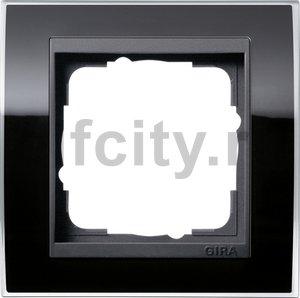 Рамка 1 пост, пластик прозрачный черный-антрацит