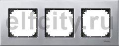 Рамка 3 поста, для горизонтального/ вертикального монтажа, металл платина-серебро