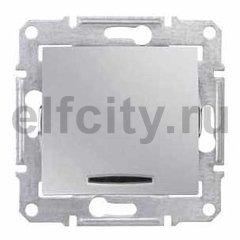 Выключатель одноклавишный с подсветкой, 10 А / 250 В, алюминий