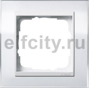 Рамка 1 пост, пластик прозрачный белый-глянц.белый