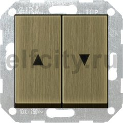 Выключатель управления жалюзи клавишный, 10 А / 250 В, бронза