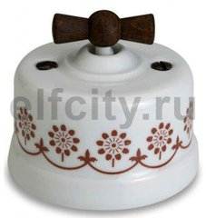 Выключатель поворотный одноклавишный универсальный (вкл/выкл с 1-го 2-х мест) 10 А / 250 В, наружный монтаж, белый фарфор / коричневый декор, ручка старое дерево