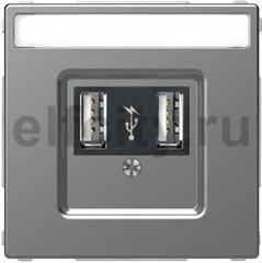 Зарядное USB устройство , 2,1А (2*1,05), нержавеющая сталь