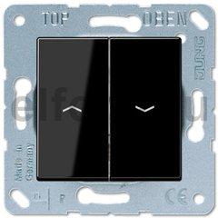 Выключатель управления жалюзи кнопочный, 10 А / 250 В, пластик черный глянцевый