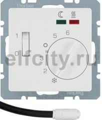 Термостат механический с выносным датчиком, для электрического подогрева пола 230 В~ 8А, полярная белизна, с эффектом бархата