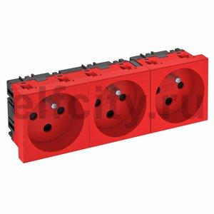 Розетка тройная 0° франц. стандарт, с кодом, 250 В, 16A (красный)