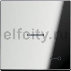 Выключатель одноклавишный с подсветкой, универс. (вкл/выкл с 2-х мест) 10 А / 250 В, блестящий хром