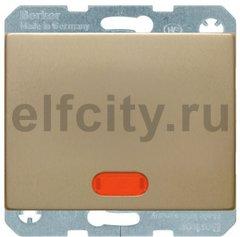 Выключатель одноклавишный с подсветкой, 10 А / 250 В, металл под золото