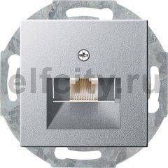 Розетка телефонная одинарная RJ11, пластик под алюминий