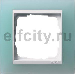 Рамка 1 пост, пластик матово-салатовый/глянц.белый