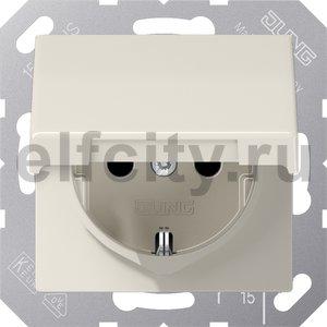 Розетка с заземляющими контактами 16 А / 250 В, с откидной крышкой и защитой от детей, уплотнительной мембраной IP44, слоновая кость