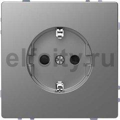 Розетка с заземляющими контактами 16 А / 250 В, с защитой от детей, нержавеющая сталь