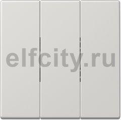 Выключатель, переключатель 3-х клавишний, (вкл/выкл с 1-го и 2-х мест) 10 А / 250 В, светло-серый