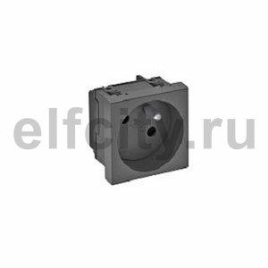 Розетка одинарная 33° франц. стандарт, 250 В, 16A (черный)