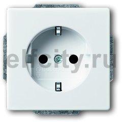 Розетка с заземляющими контактами 16 А / 250 В, с защитой от детей, автоматические зажимы, пластик белый глянцевый