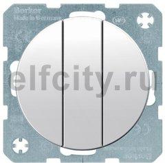 Выключатель трехклавишный, 16 А / 400 В, с винтовыми зажимами, полярная белизна