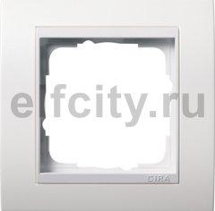 Рамка 1 пост, пластик матово-белый/глянц.белый