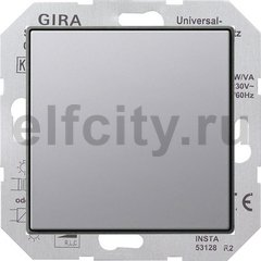 Диммер (светорегулятор) клавишный универсальный 50-420 Вт для ламп накаливания и низковольтных галогенных ламп, нержавеющая сталь